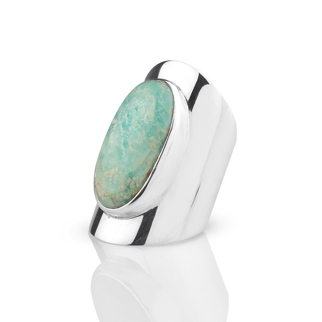 Oval Ring.GreenAgate